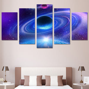wall art canvas painting universe space planet starry sky 5 piece HD Printed wall art picture for living room decoration ny-6135