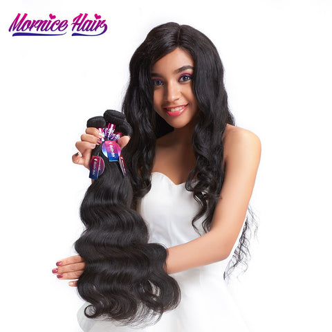 Mornice Hair Indian Remy Hair Body Wave 1 Bundle Human Hair Bundles Weave Natural Black Free Shipping 100 g