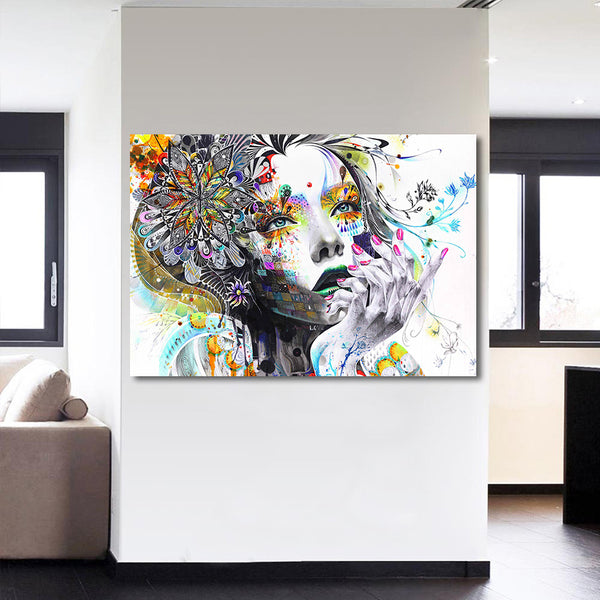 HD printed 1 piece canvas art girl with artwork flower painting wall pictures for living room modern free shipping/CU-1530C