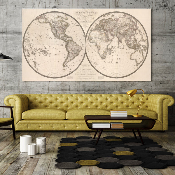 HD Printed 1 piece canvas 1820 published in the world ancient map Painting room decoration  poster Free shipping/NY-6835