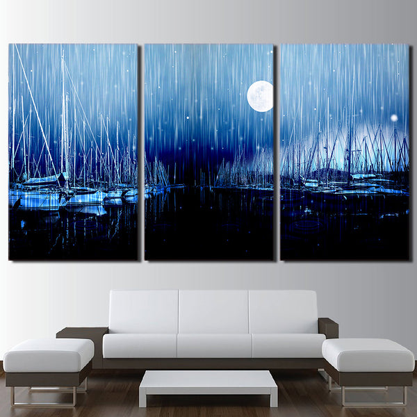 3 piece canvas art sailboats moon night wall art canvas painting posters and prints wall pictures for living room ny-6659D