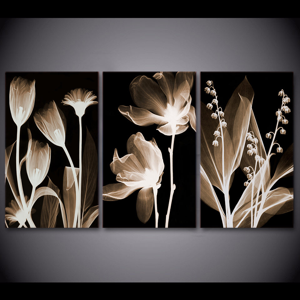 3 Panel Canvas Art Plants Flower in Dark Canvas Painting Wall Art Canvas Poster and Print Wall Picture for Living Room ny-6643D