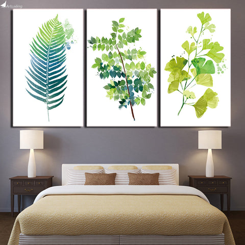 HD printed 3 Piece Green Plant Leaves Canvas Painting Nordic Decoration Wall Pictures for Living Room Free Shipping ny-6759D