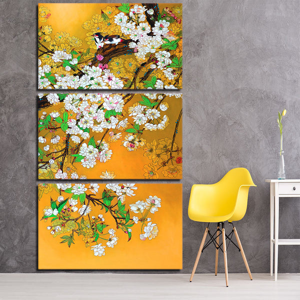 3 piece canvas art magpie couple chinese tradition art canvas painting posters and prints wall picture for Living room ny-6662C