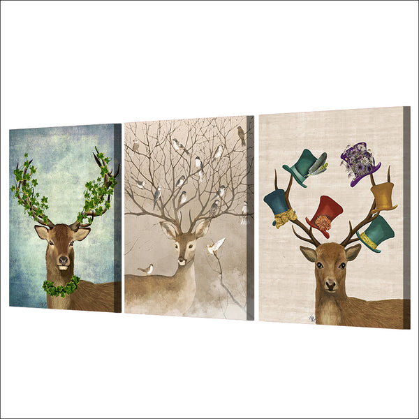HD printed 3 piece Deer Birds Forest Nordic Canvas Wall Art Pictures for Living Room Posters and Prints Free shipping/ny-6758D