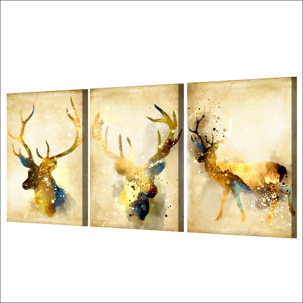 HD printed 3 piece deer elk animal yellow wall art canvas Painting wall pictures for living room posters Free shipping/ny-6750D