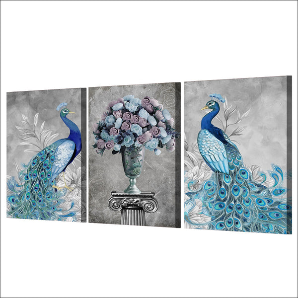 3 piece canvas art peacock Couple wall art HD printed posters and prints wall picture for living room free shipping ny-6649D