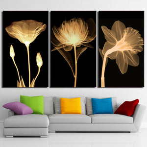 HD print 3 piece Canvas Art transparent flower black Painting Wall Picture for Living Room Wall Art  ny-6644D