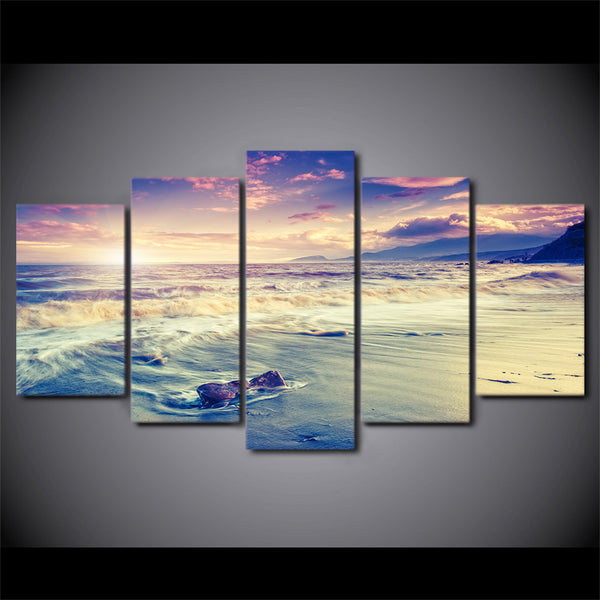 5 piece canvas art sea beach coast waves poster HD printed home decor canvas painting picture Prints Free Shipping NY-6585C
