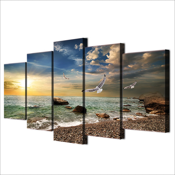 HD printed 5 piece beach pictures canvas painting sunset seagull living room wall decor free shipping ny-6523