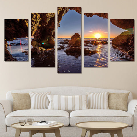 HD Printed 5 piece canvas art paintings water hole sunrise sea stones room decor canvas wall art posters and prints ny-6212