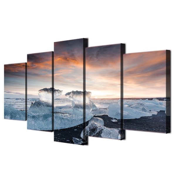 HD Printed 5 piece canvas art paintings frozen seascape ice view sunrise room decor canvas wall art posters and prints ny-6204