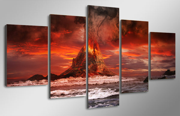 HD Printed mountains volcano sea ocean Painting Canvas Print room decor print poster picture canvas Free shipping/ny-4537