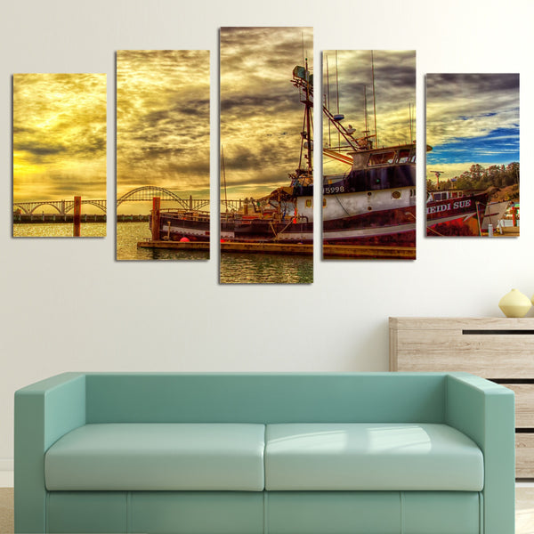 HD Printed 5 piece Canvas Art Sunset Boat Seascape Painting Canvas living room decor posters and prints Free shipping/ny-6033
