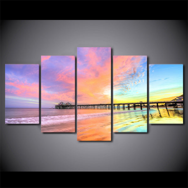 HD Printed 5 Piece canvas art Colorful Sunset Bridge scenery painting Wall Pictures for Living Room  Free Shipping ny-6734B