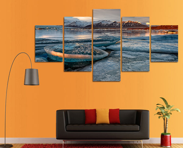 HD Printed ozero gory sneg bereg priroda Painting Canvas Print room decor print poster picture canvas Free shipping/ny-4541
