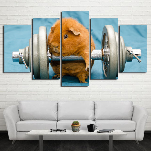 HD Printed 5 Piece Canvas Art Chow Dumbells Painting Ancient Breed Chowdren Wall Pictures for Living Room Free Shipping NY-6955C