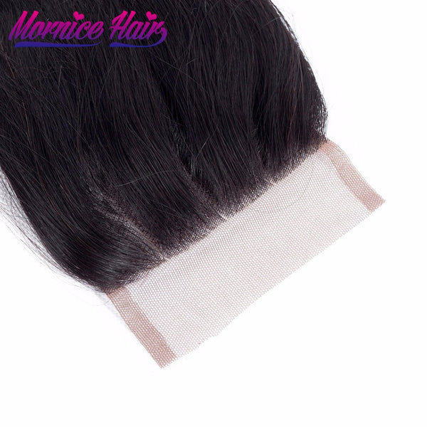 Mornice Hair Peruvian Body Wave Lace Closure 4X4 Three Part 100% Hand Tied Remy Human Hair Closure Density 130% Free Shipping