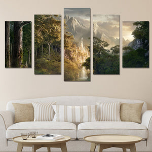wall art canvas painting HD Printed landscape mountain forest clouds 5 piece canvas art wall pictures for living room ny-6181