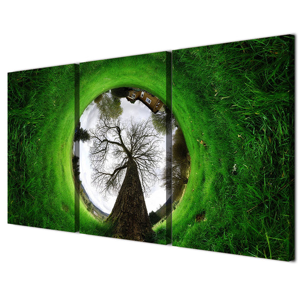 HD printed 3 piece canvas art green grass landscape house abstract Painting wall painting with frame set Free shipping ny-6550