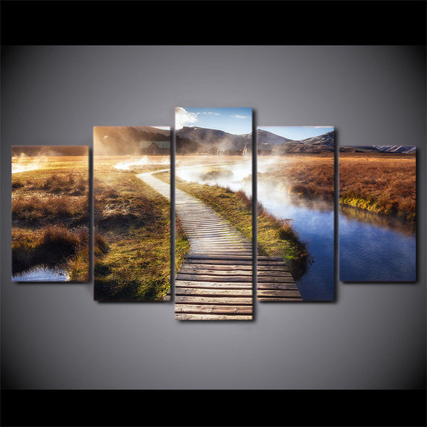 HD printed 5 piece canvas art Psychedelic Landscape wooden Bridge Painting wall pictures for living room free shipping ny-6740B