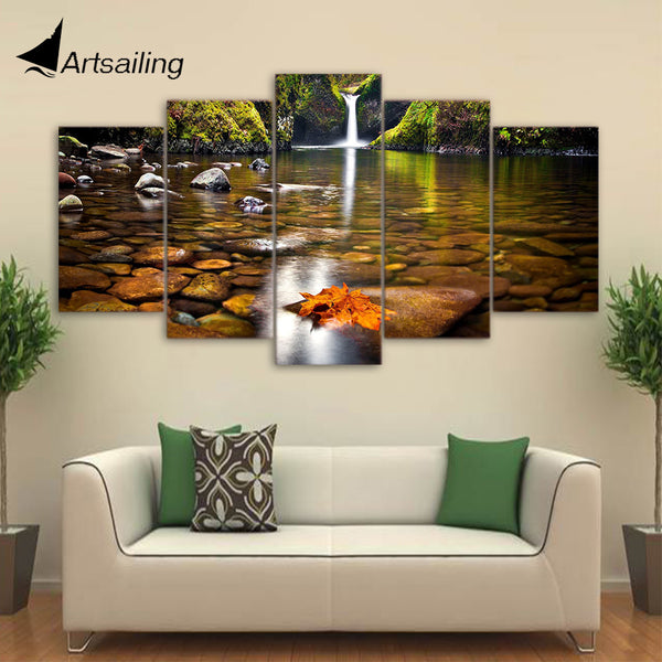 HD Printed Landscape Autumn Waterfall 5 Piece Canvas Art Painting Living  Room Decoration Canvas Wall Art
