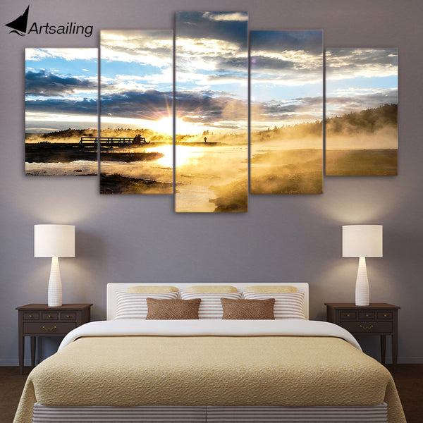 HD printed 5 piece canvas art sunshine landscape Painting Posters Artwork living room decor panel framed free shipping ny-6539