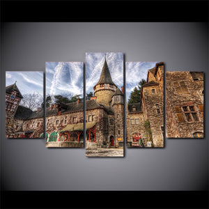 HD Printed 5 Piece Canvas Art European Castle Landscape Painting Vintage Wall Pictures for Living Room Free Shipping NY-6773A