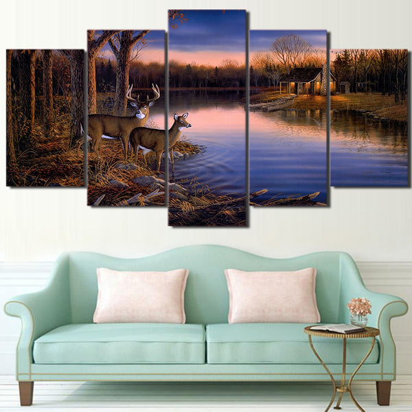 HD Printed 5 Piece Canvas Art Deer Lake Landscape Sunset Painting Nature Wall Pictures for Living Room Free Shipping NY-6770A
