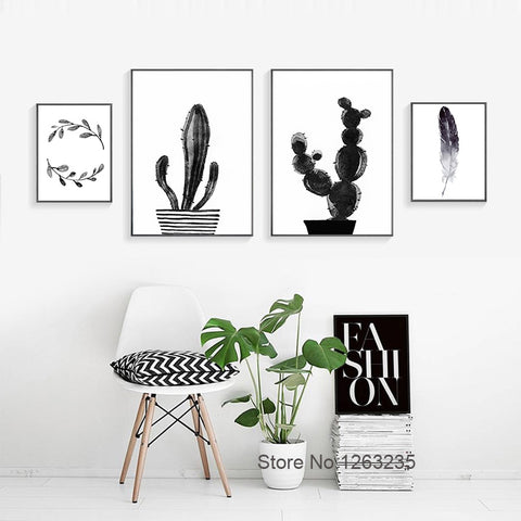 Posters And Prints Cuadros Decoracion Cactus Feather Wall Pictures Wall Art Canvas Painting Nordic Decoration No Poster Frame