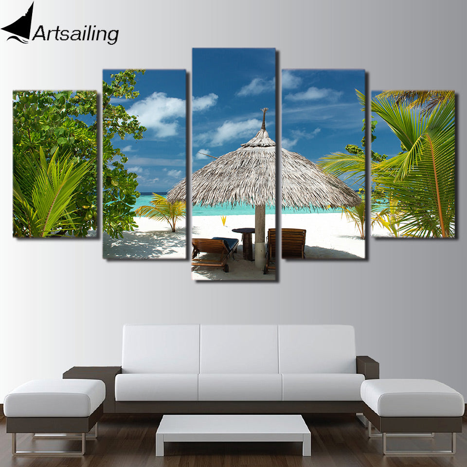 HD Printed 5 Piece Canvas Art Tropical Island Painting Tropical Palm Tree  Wall Pictures for Living Room Free Shipping NY-7001B