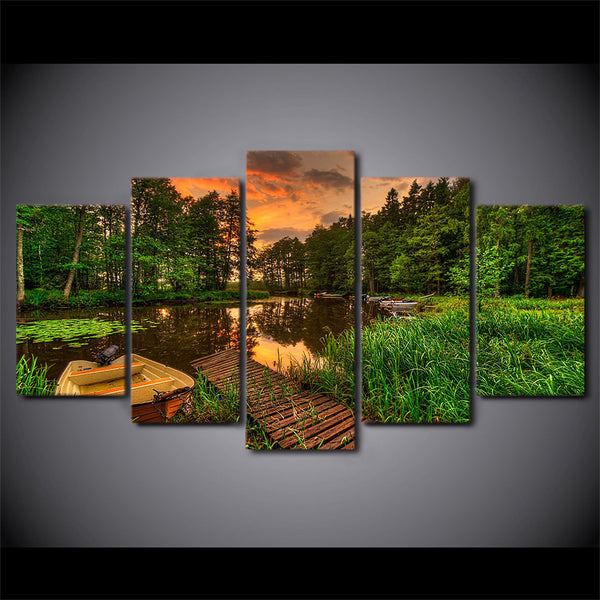 5 piece art canvas painting room decoration HD Printed boat dock forest sunset tree pond poster picture Free shipping/ny-6077