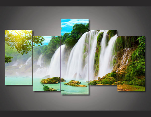 HD Printed Waterfall landscape picture Painting wall art room decor print poster picture canvas Free shipping/ny-680