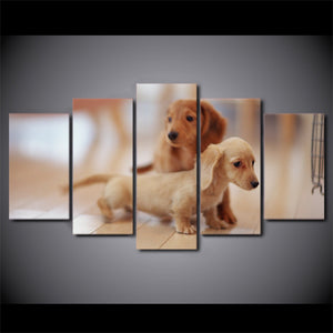 5 Piece Canvas Art HD Printed Cute Dog Canvas Painting Dachshund Dog Wall Pictures For Living Room Home Decor CU-1623A
