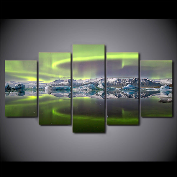 HD printed 5 Piece Canvas Art Psychedelic Aurora Lake Ice Mountain painting Posters and Prints Home Decor Free Shipping ny-6795C
