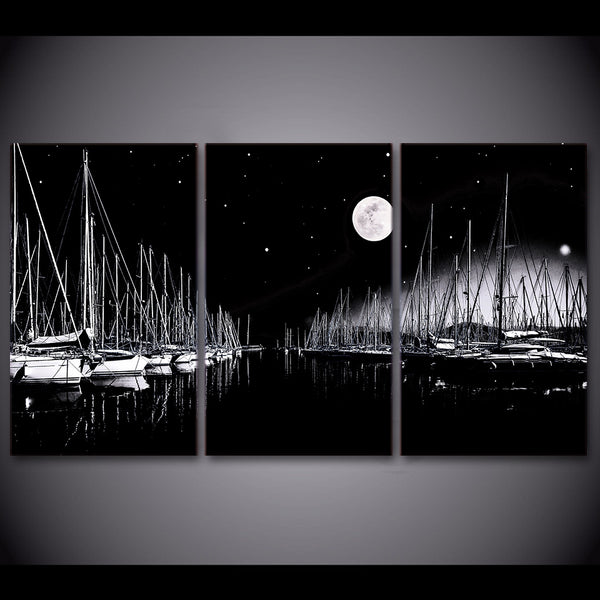 3 piece canvas art sailboats black and white painting wall art posters and prints picture for living room ny-6661D