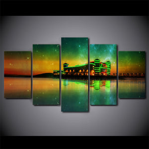 HD Printed 5 Piece Canvas Art Aurora Abstract Lake Modular Painting Wall Pictures For Living Room Modern free shipping NY-6739A