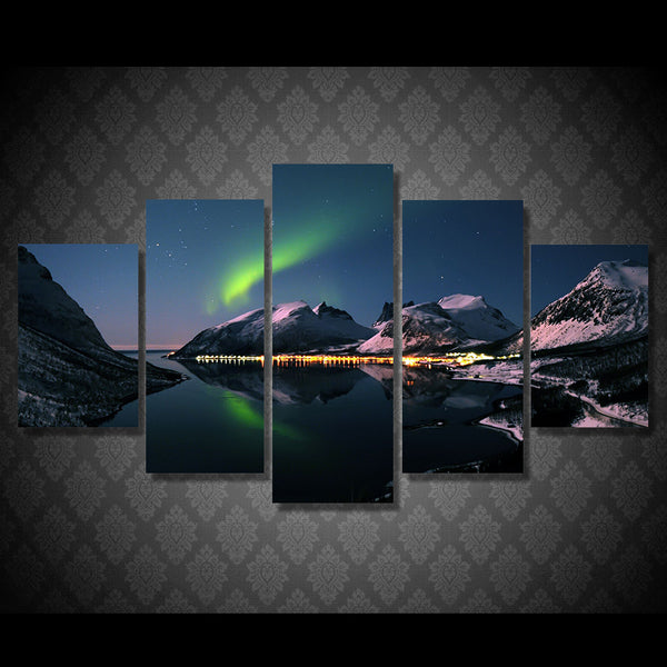 5 piece wall art canvas oil painting Printed dazzling aurora mountain lake light for room decoration picture poster/ny-5996
