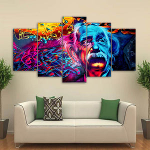 HD Printed 5 Piece Canvas Art Abstract Einstein Painting Psychedelic Color Wall Pictures for Living Room Free Shipping CU-1658B