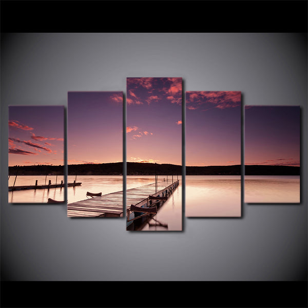 HD printed 5 piece canvas art Pier Painting Wood Bridge Glowing wall pictures for living room modern free shipping/ ny-6736B