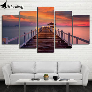 HD Printed 5 Piece Canvas Art Sea Wooden Walkway bridge sunset Painting Wall Pictures for Living Room  NY-6803A