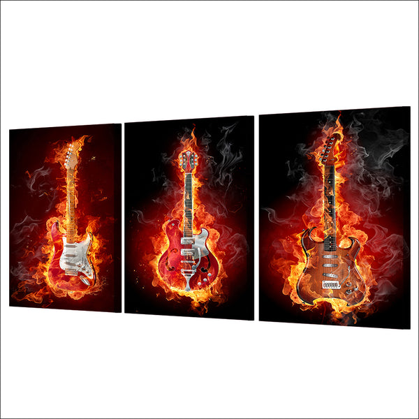 HD printed 3 piece Fire Music Guitar Burning Flame Wall Pictures for Living Room Game Posters and Prints Free Shipping ny-6756D