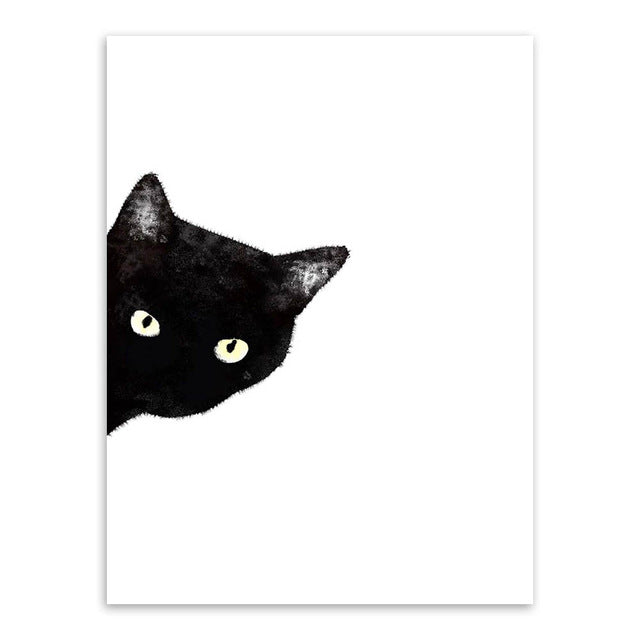 Kawaii Watercolor Black Cat Animal Art Print Wall Poster