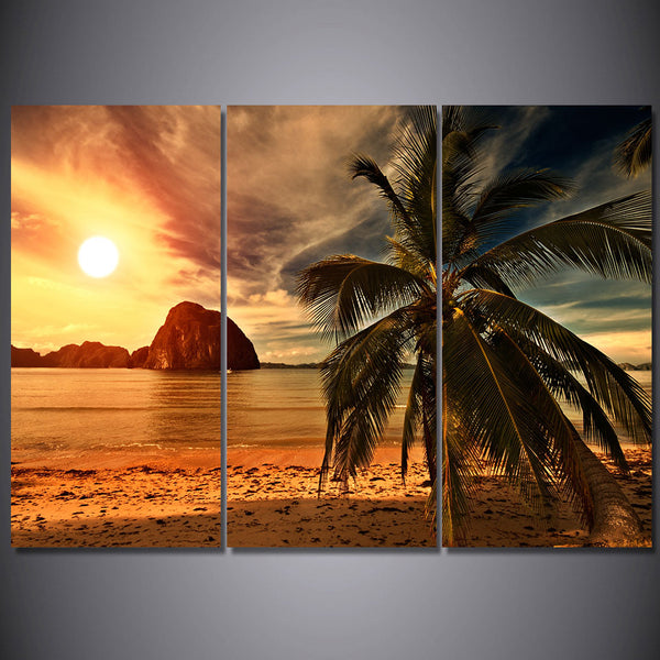 HD printed 3 piece Sunset Beach Coconut Trees Modular Wall Paintings Canvas Home Decor Posters and Prints Free Shipping ny-6787D