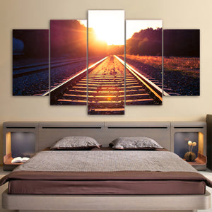 HD Printed 5 Piece Canvas Art Track Train Morning Dawn Painting Wall Pictures for Living Room Wall Poster Free Shipping NY-6926B