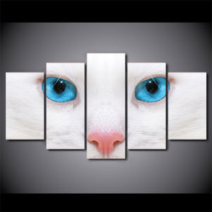 HD Printed 5 Piece Canvas Art White Cat Blue Eyes Painting Framed Wall Pictures for Living Room Modern Free Shipping NY-6961C