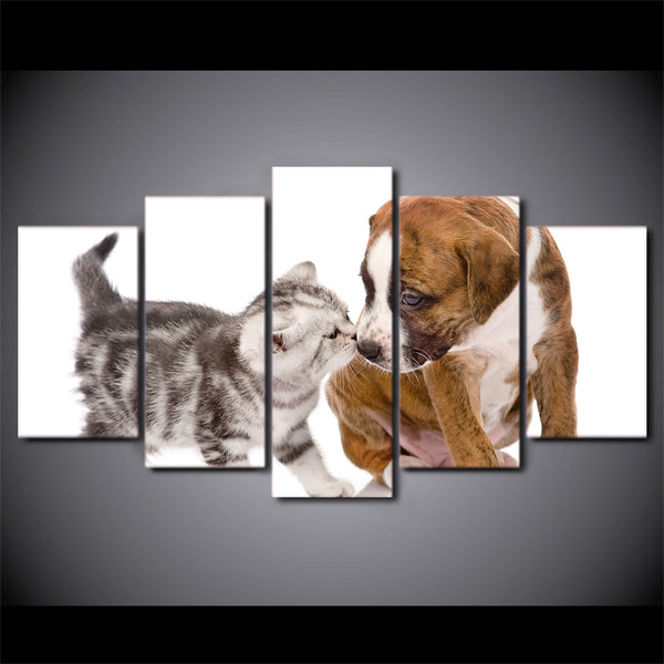HD Printed 5 Piece Canvas Art Cute Dog Kiss Cat Painting Framed  Wall Pictures for Living Room Modern Free Shipping NY-6962A