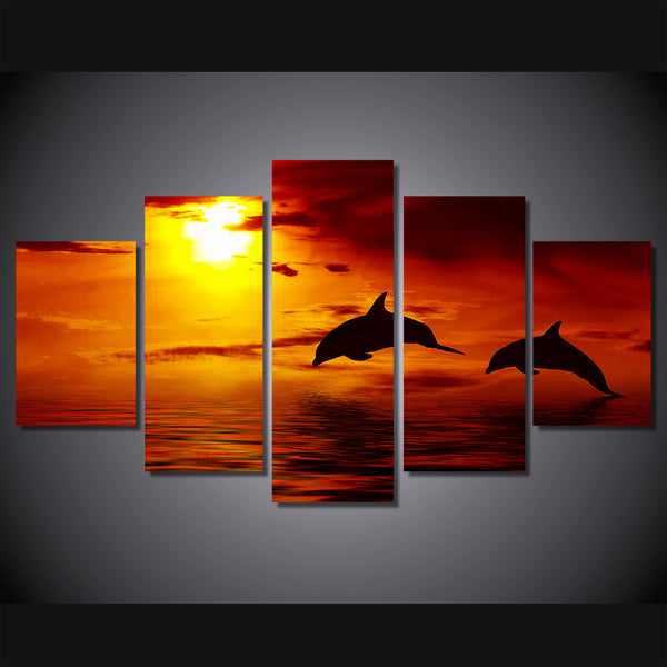 HD Printed Ocean sunset dolphin picture Painting wall art room decor print poster picture canvas Free shipping/ny-755
