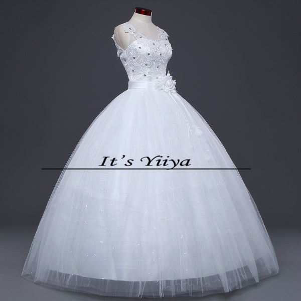 Free Shipping New 2016 White Wedding dresses Fashion Bride Wedding frocks Princess Wedding gowns Lace Sexy Vestidos De Novia H46