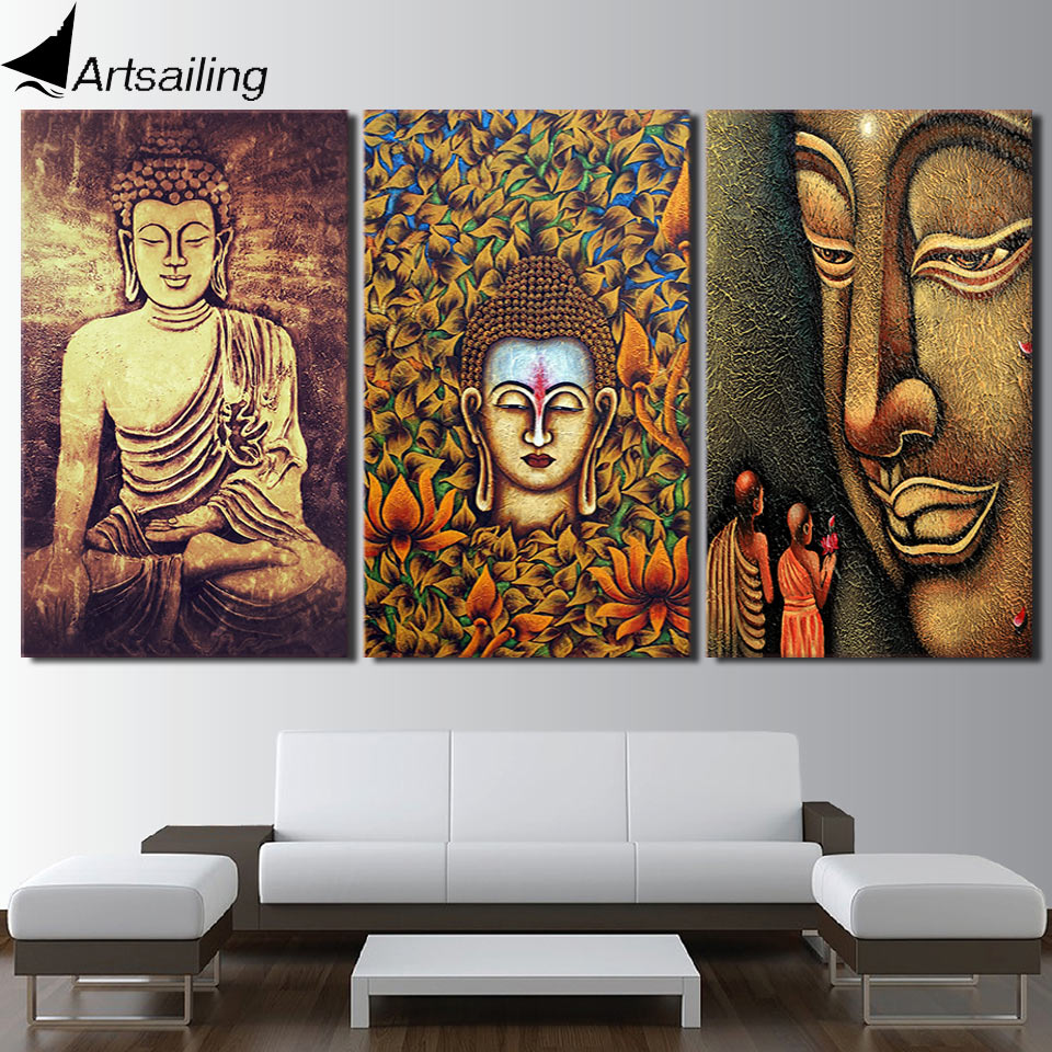 HD printed 3 piece color buddha wall art canvas painting for living room buddha statue posters and prints Free shipping/ny-6753D